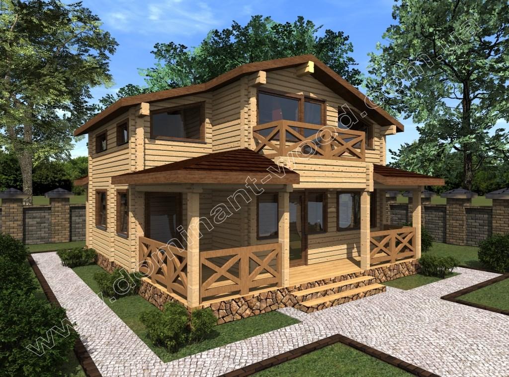 Новый проект дома из сухого бруса Амальд — Доминант