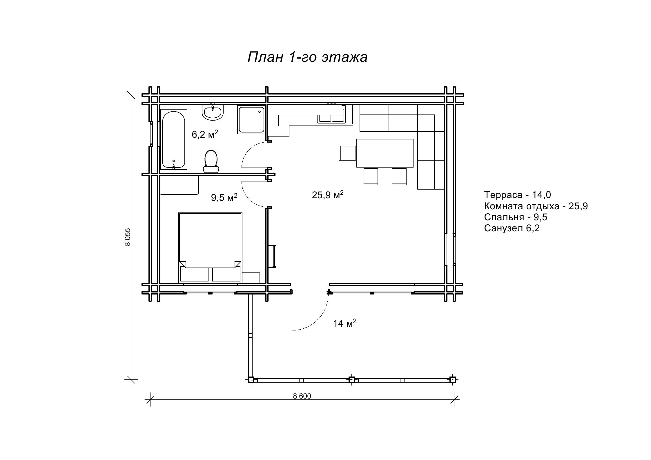 «Гамбер» — коттедж из бруса с утепленными стенами, площадь 70,8 м<sup>2</sup>