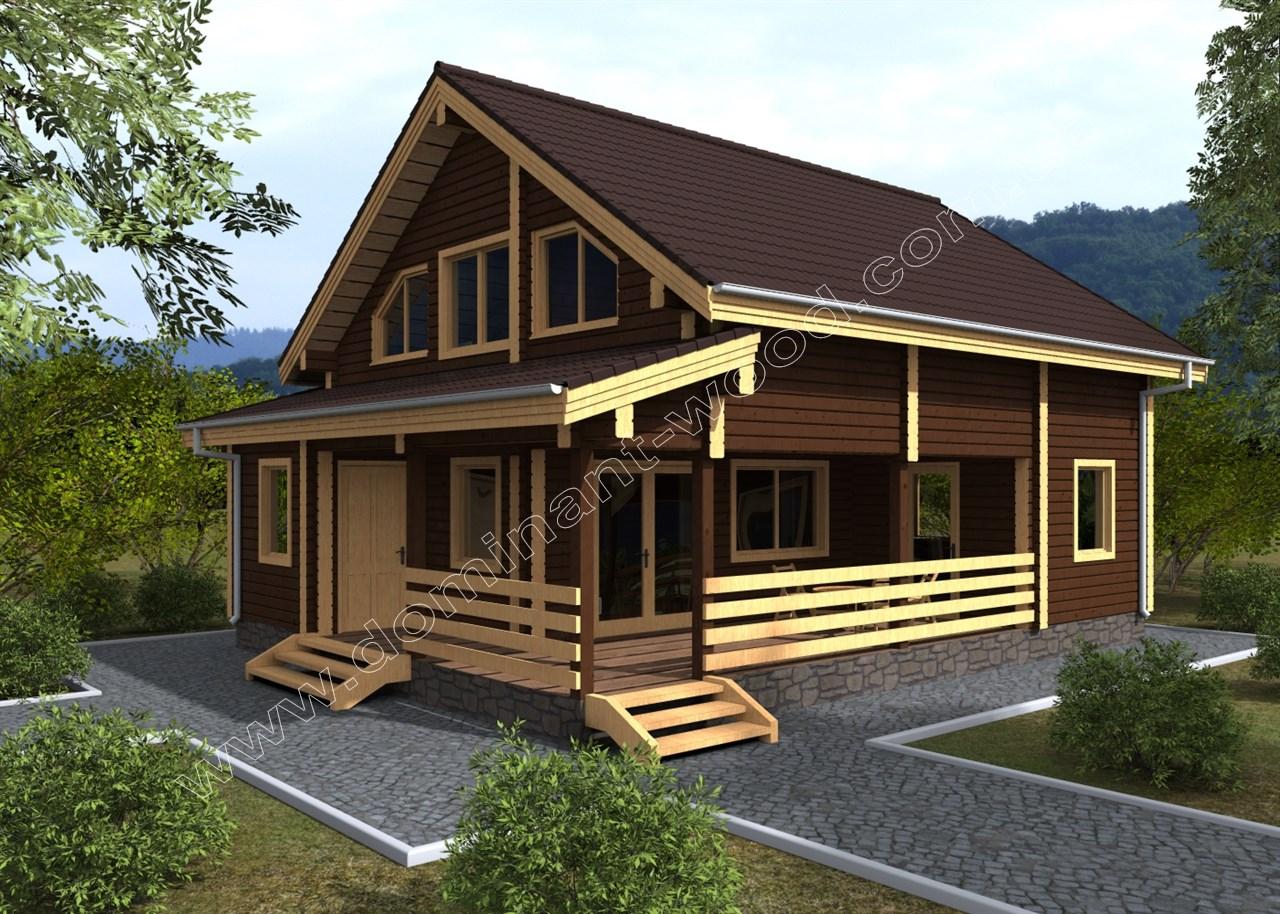 Новый проект дома из сухого бруса Кельтас — Доминант