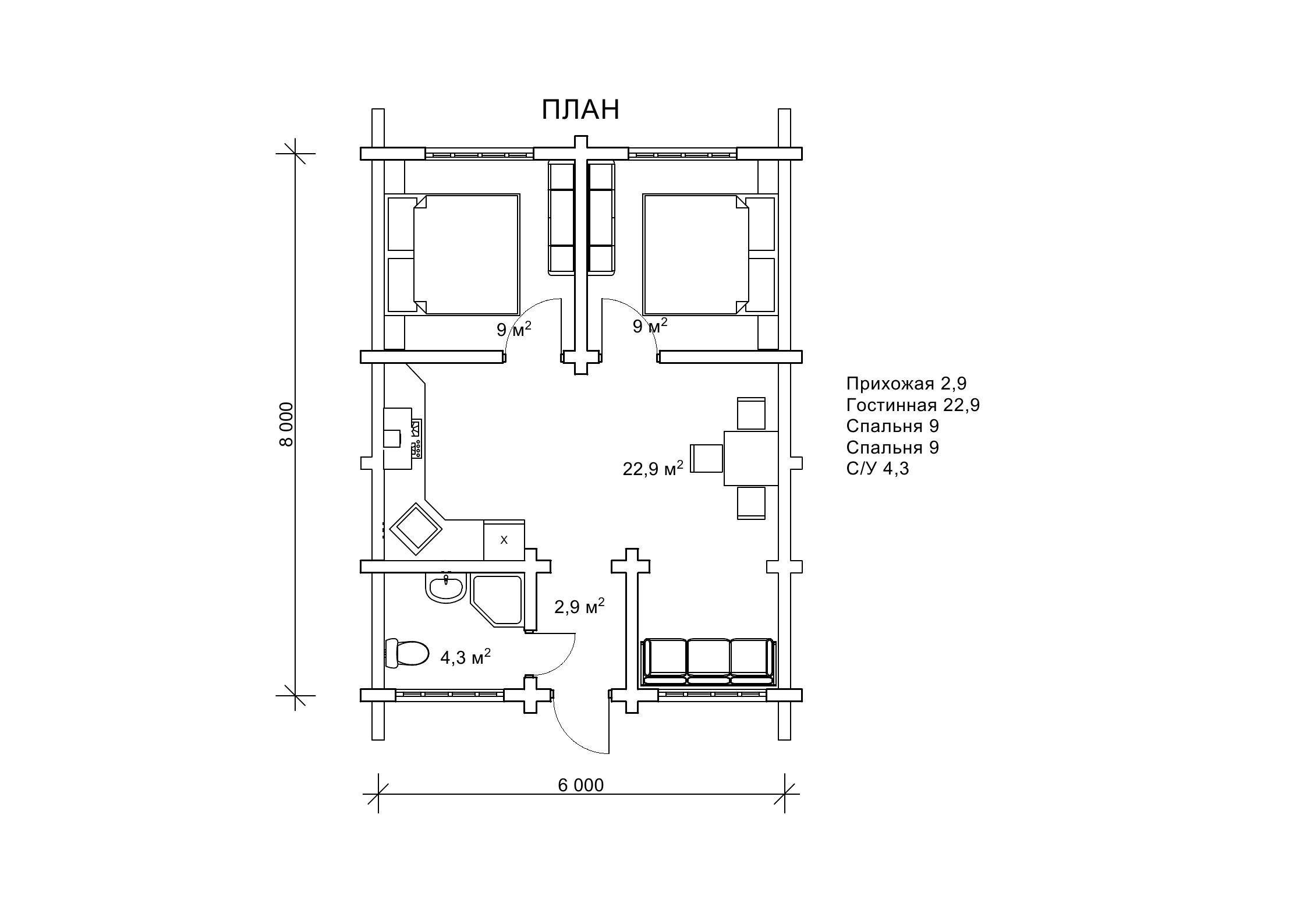 «Лекид2» — одноэтажный бревенчатый дом 8х6м