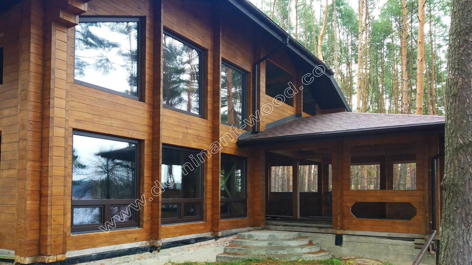 современный дизайн домов из сухого бруса