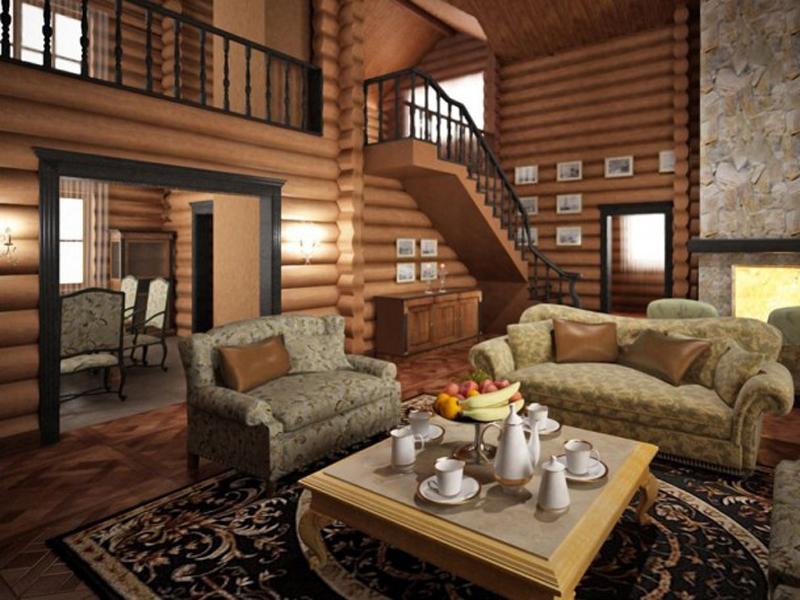 Интерьер деревянных домов фото внутри