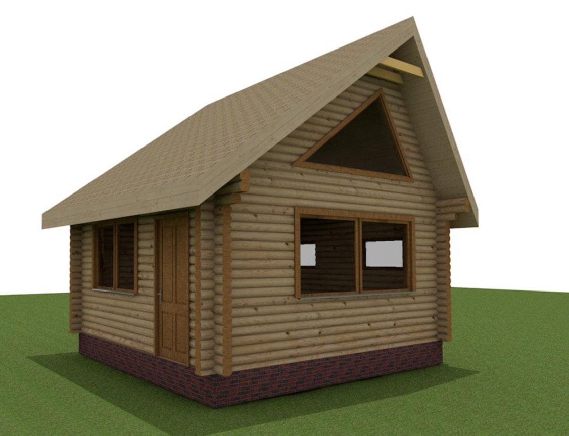 Бревенчатый домик с мансардой