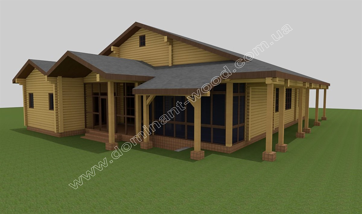 Дом с террасами из сухого бруса