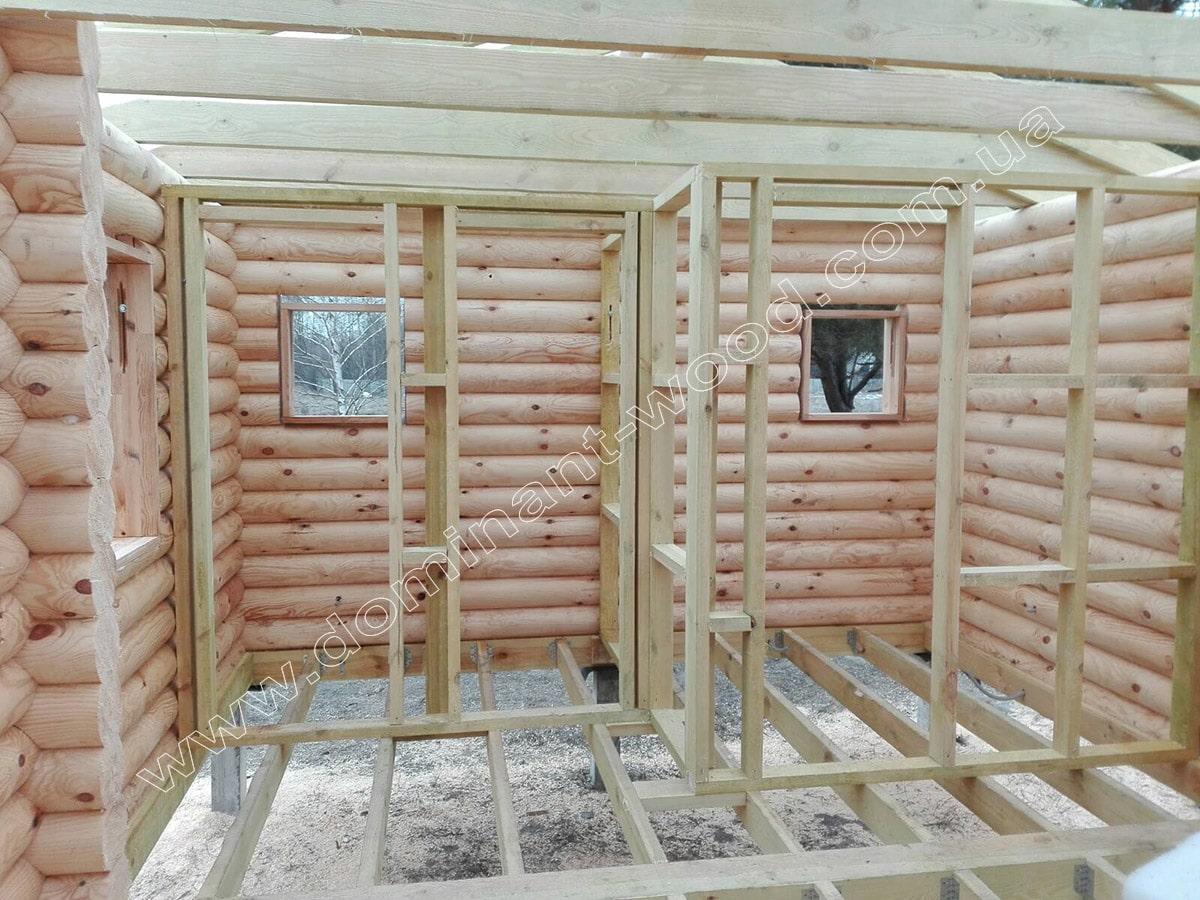 Установка деревянного сруба