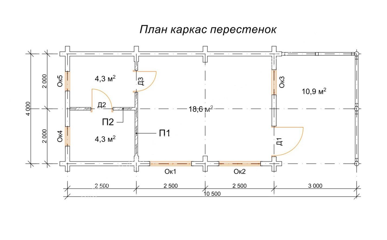 Бревенчатая баня с большой террасой