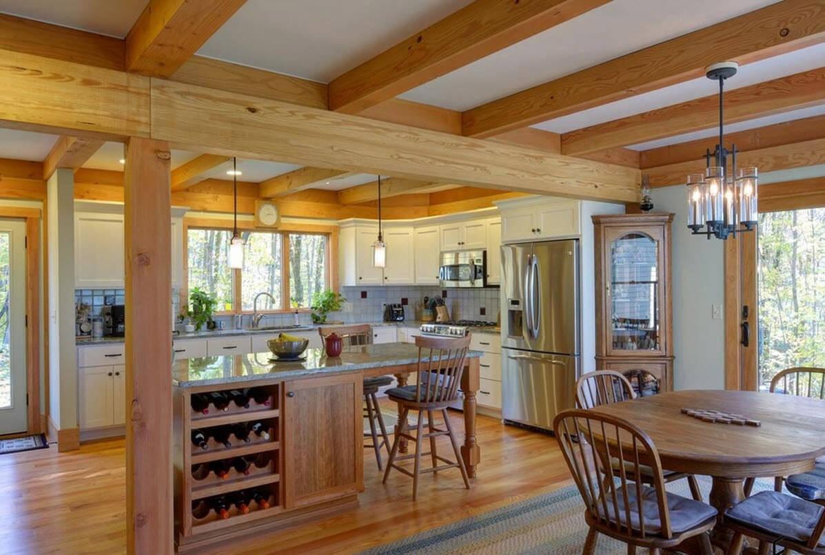 Колонны  в деревянном доме