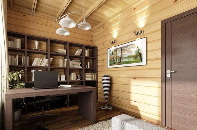 Оформление кабинета в деревянном особняке