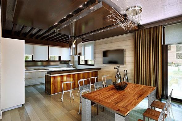 Разделение столовой и кухни