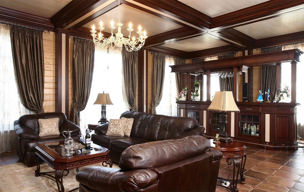 Пример интерьера деревянного дома в английском стиле