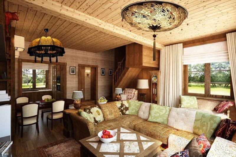 Пример интерьера деревянного дома в стиле прованс