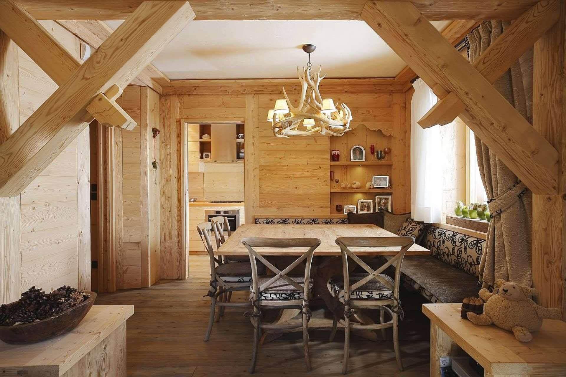 Пример интерьера деревянного дома в рустикальном стиле