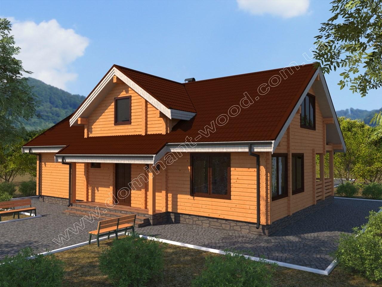 Новий проект будинку з сухого брусу Азарнія — Доминант