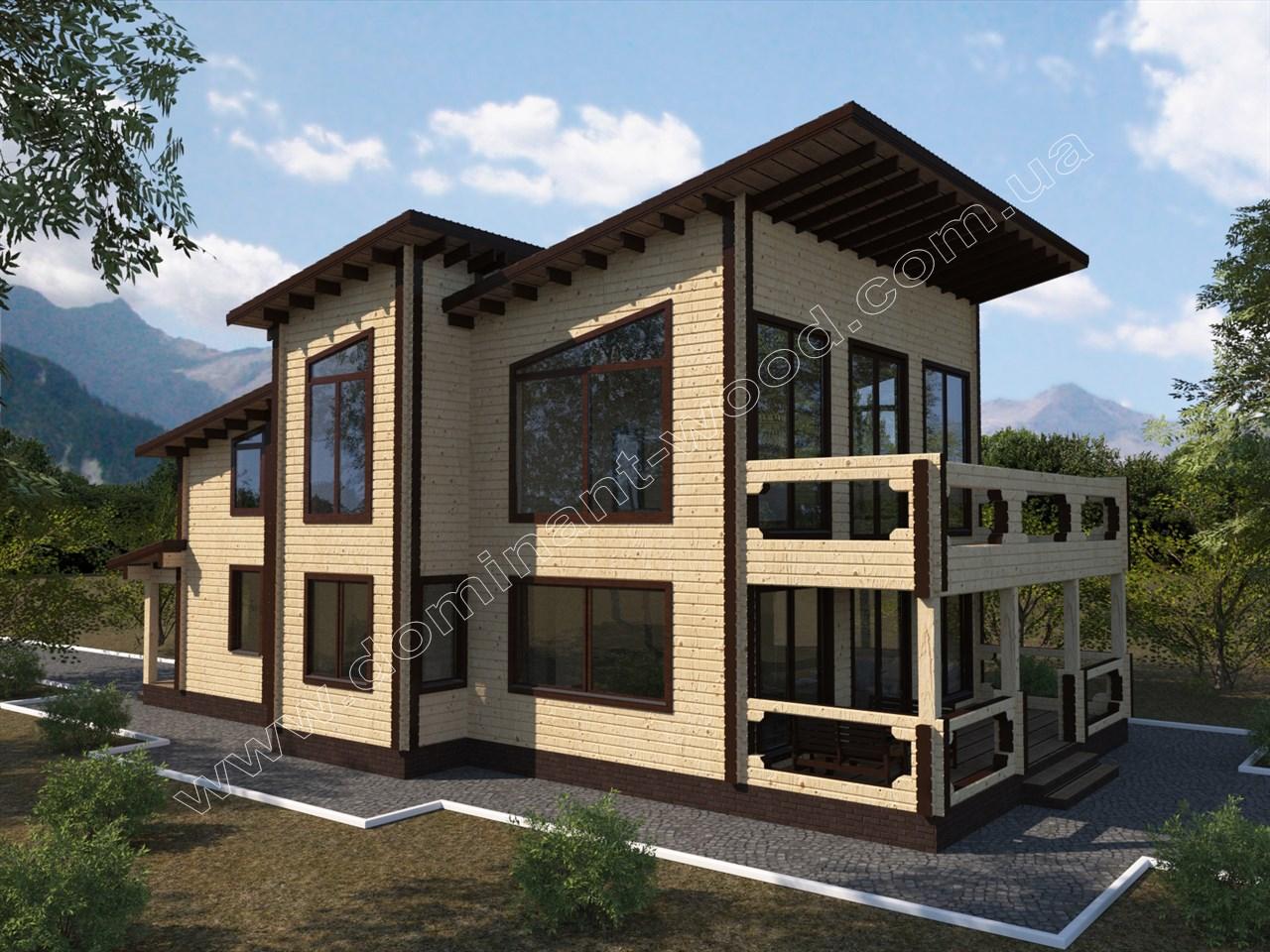 Новий проект будинку з сухого брусу Дафред — Доминант