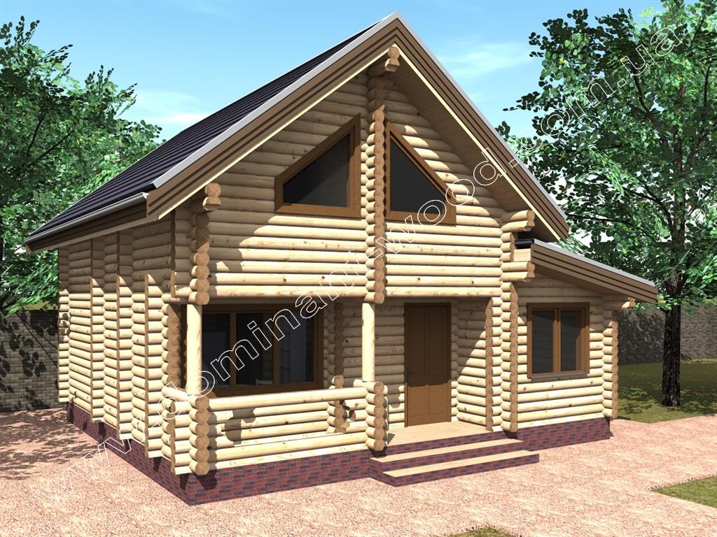 Двоповерховий будинок з дерева