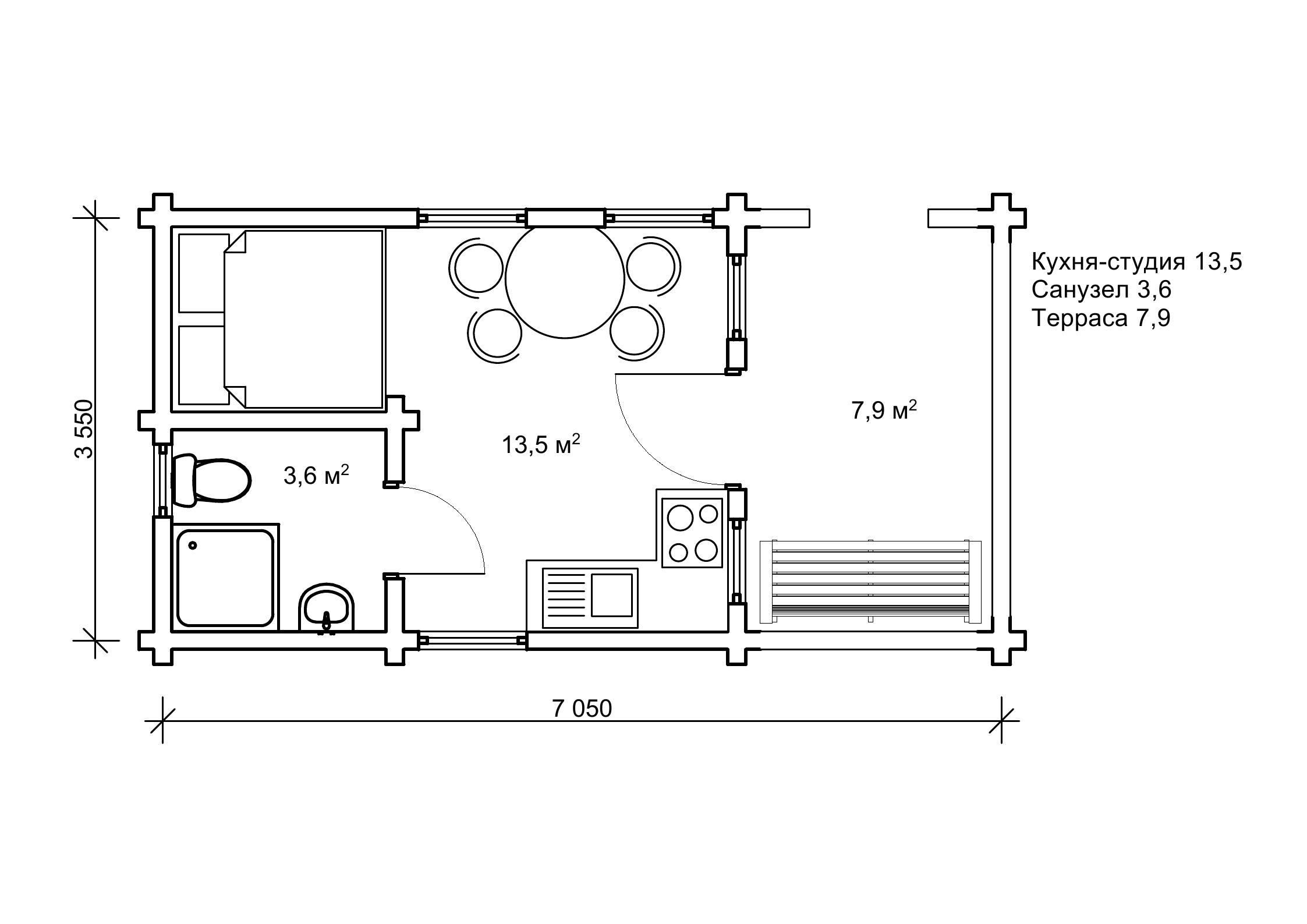 «Пряница» — садовий будиночок 3,5 на 7 м из сухого бруса