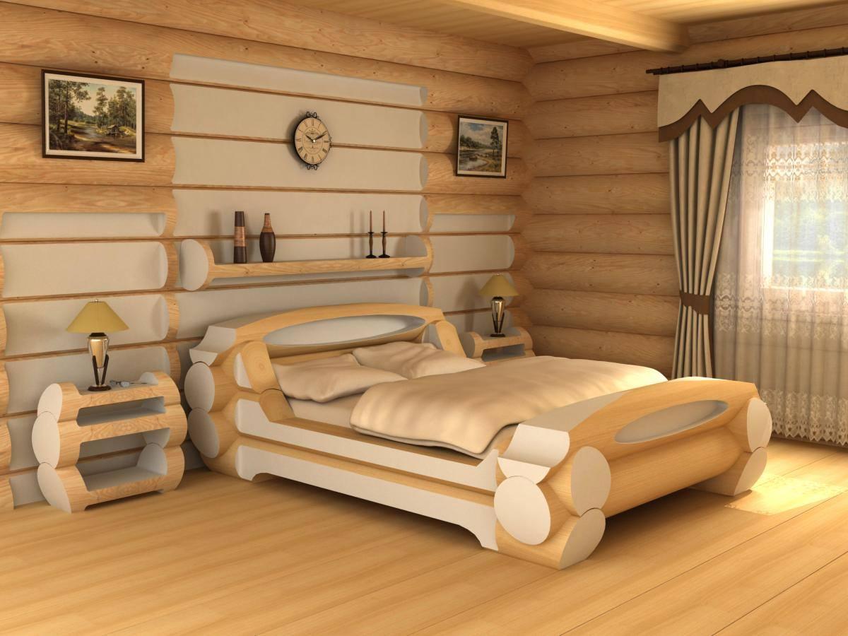 ліжко з цільного брусу