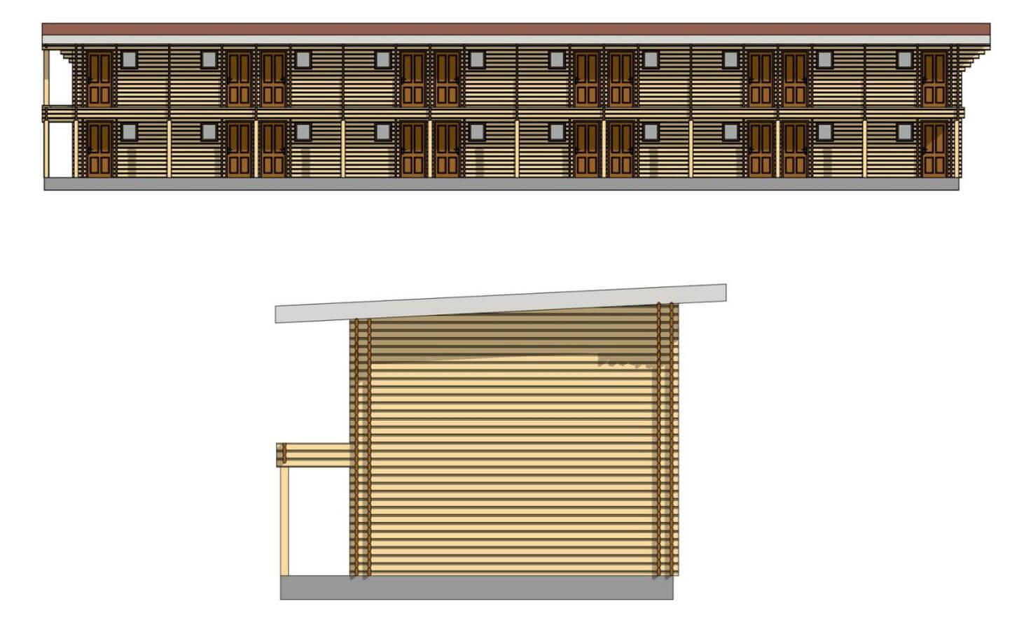 Проект готелю з паралельного бруса з утеплювачем