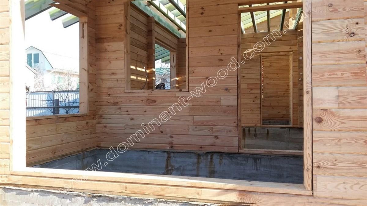 Дачний котедж з сухого бруса на дві спальні
