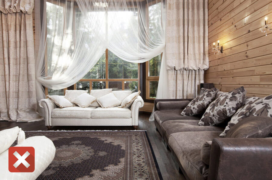 Избыток текстиля и тяжелые шторы
