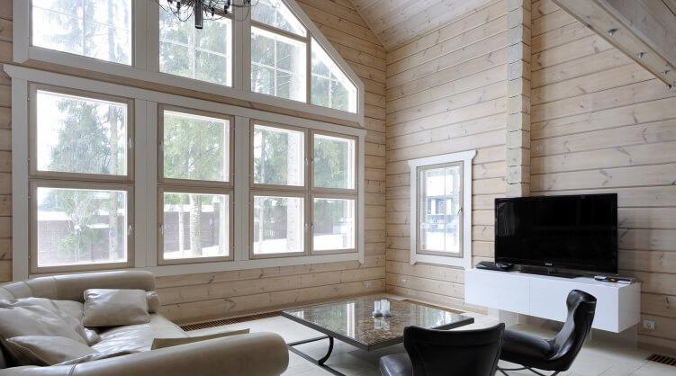Приклад інтер'єру дерев'яного будинку в скандинавському стилі