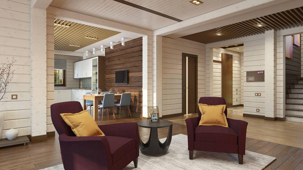 Как выбрать цвет для создания красивого интерьера дома из бруса?